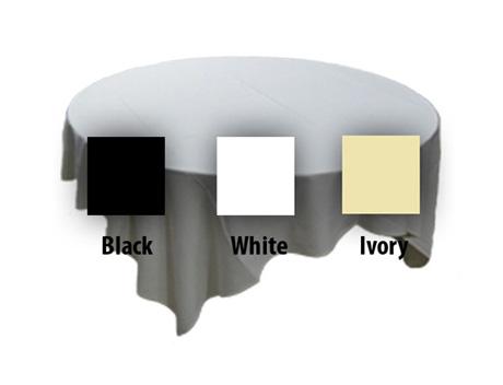 Round Table Linens - Black, White, Ivory