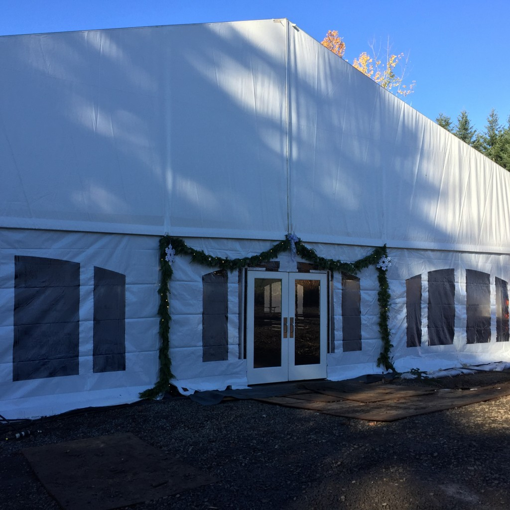 Large White Tent with Festive Decor